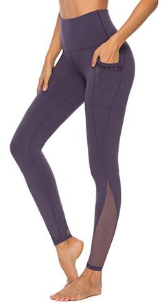 Womens Printed Yoga Pants with 2 Pockets Non See-Through High Waist Tummy Control 4 Way Stretch Leggings