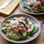 Greek Quinoa Salad with Avocado, Olives and Spinach
