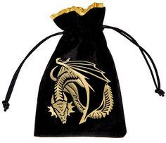 Dragon Velour Dice Bag (Black and Gold)