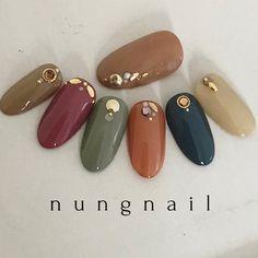 ネイル ネイル in 2019 Gorgeous Nails, Love Nails, Fun Nails, Pretty Nails, Japanese Nail Design, Japanese Nails, Autumn Nails, Fall Nail Art, Colorful Nail Designs