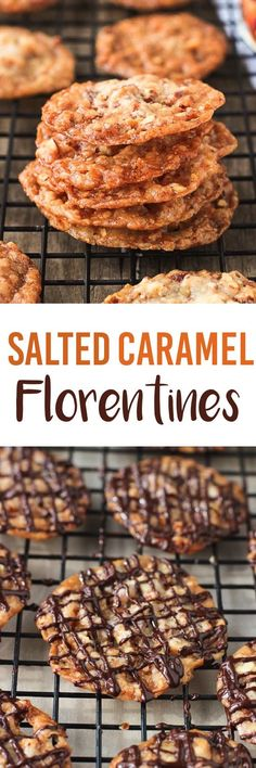 These Salted Caramel Florentines are thin, almond-based cookies that are sweet, . - Cookies Rule the World! Cookie Desserts, Just Desserts, Cookie Recipes, Delicious Desserts, Dessert Recipes, Yummy Cookies, Yummy Treats, Sweet Treats, Sweet Cookies