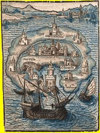 The island of Utopia is 200 miles broad in the middle, and over a great part of it, but grows narrower at either end. Description from…