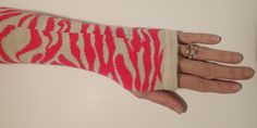 Fingerless Gloves Skin Protectors Arm Warmers Bike Gloves Cell Phone Gloves Tattoo Covers Pink and Off White Knit Cotton with thumb opening by EzAdultCareProducts on Etsy