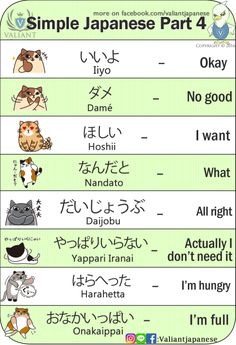 Simple Japanese : Explained by Cat Images by: www.instagram.com/valiantjapanese