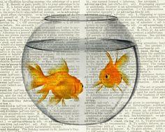 goldfish bowl print, gold fish in a bowl on vintage dictionary page, vintage dictionary art print, wall art prints, upcycled book page Goldfish Tank, Goldfish Bowl, Tank Drawing, Newspaper Art, Arte Sketchbook, Dictionary Art, Amazing Drawings, Human Art, Illustrations