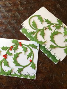 Holly Berry and Mistletoe Notecard Set of 4  by ASistersHeart