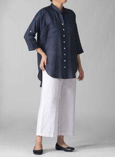 PLUS Clothing - Linen Mandarin Collar Blouse