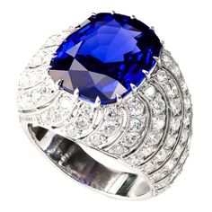 Superb Burma Sapphire Diamond 'Turban Monte' Ring at 1stdibs