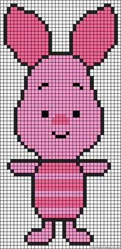 Winnie the Pooh - Piglet Pearler Bead Patterns, Perler Patterns, Quilt Patterns, Crochet Pixel, Crochet Chart, Cross Stitch Charts, Cross Stitch Patterns, Cross Stitching, Cross Stitch Embroidery