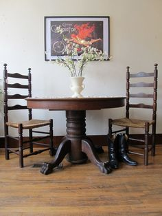 Antique Oak Claw Foot Table by JulesVernonVintage on Etsy, $495.00
