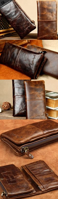 Handmade vintage rustic bifold leather men long wallet purse clutch ba…