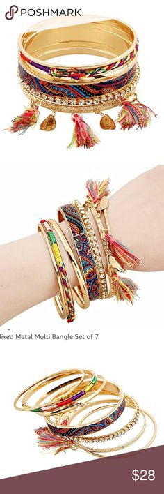 🏵7 Tassel Colorful Charm Bangle Set 7 beautiful gold bangles some woven with string and various tassels and crystals, so fun and funky Jewelry Bracelets