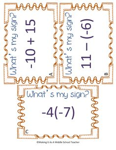 Making It As A Middle School Teacher: Math Game Monday ~ What's My Sign? I think this would be a Math Tutor, Math Teacher, School Classroom, Teaching Math, Teaching Ideas, Classroom Ideas, Math Education, Teaching Tools, Teacher Stuff