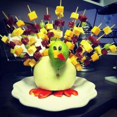 Thanksgiving appetizer or side dish, turkey made from fruit with cheese on  skewers