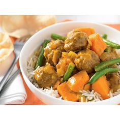 The beauty of this lamb meatball curry by recipes+ is its versatility. Try using balti or rogan josh curry paste instead of korma. You can also use pumpkin instead of kumara if you like.
