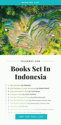 Books Set In Indonesia. Visit www.taleway.com to find books from around the world. books indonesia, books about indonesia, indonesia inspiration, indonesia travel, indonesia reading, indonesia reading challenge, indonesia packing, novel indonesia, indonesia trip, bali book, bali inspiration, bali travel, travel reading challenge, ubud travel, gili travel, books set in asia, books and travel, indonesia book novel, indonesia book challenge, indonesia bucket list, indonesia backpacking…