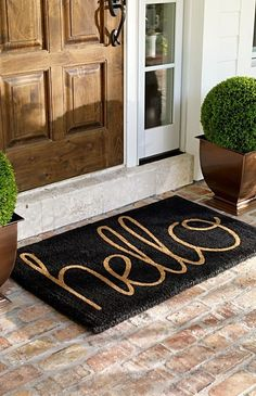 My Sweet Savannah: ~add curb appeal with doormats~ You are in the right place about curb appeal garden Here we offer you the most beautiful pictures about the curb appeal garden you are looking for. Front Door Rugs, Front Porch, Feng Shui, House Ideas, Kitchen Remodel Cost, Inside Design, House Rooms, Home Accents, Curb Appeal