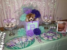 Purple lavender and mint baby shower.