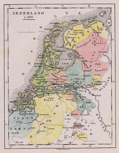 Antieke kaart te koop van Nederland in 1350 uit 1881 door C.L. Brinkman, Amsterdam en meer kaarten, prenten en plattegronden van House Map, Historical Maps, Antique Maps, Amsterdam, Netherlands, Holland, Vintage World Maps, Antiques, Prints