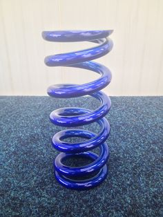 Candy blue powder coated motorcycle coil spring. #powdercoating