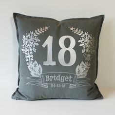 Ages 1 to 110 - Every birthday is special. Whether it's a first birthday or the celebrate the day with a Brit and Bee Birthday Garland Throw Pillow. Birthday Garland, Silver Pillows, Cotton Drawstring Bags, Grey Cushions, Bees Knees, Perfect Pillow, Cotton Canvas, Special Day, First Birthdays