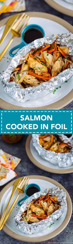 Salmon in Foil 鮭のホイル焼き - A perfect dish for a busy weeknight meal! Quick and simple to make! No more than 20 minutes from start to finish. Salmon, carrots, mushrooms and other veggie in one. #Salmon #Salmon in foil #quick recipes #easy recipes #fish recipe #easy fish recipes | Easy Japanese Recipes at JustOneCookbook.com
