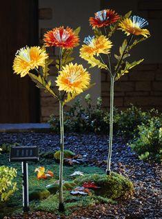 Solar Lighted Mum Garden Stakes Set