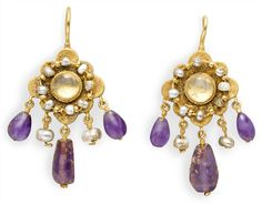 A PAIR OF BYZANTINE GOLD, PEARL, ROCK CRYSTAL AND AMETHYST EARRINGS CIRCA 7TH CENTURY A.D.