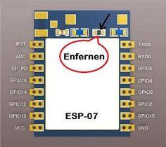 ESP8266 ESP-07 Für den Batteriebetrieb bitte löten Sie die rote LED oder dazugehörige Vorwiderstand an dem ESP-Modul ab.