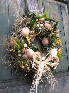 miluju jaro / Zboží prodejce sirapa - Lilly is Love Diy Wreath, Door Wreaths, Easter Wreaths, Christmas Wreaths, Summer Wreath, Spring Crafts, Easter Crafts, Easter Eggs, Flower Arrangements