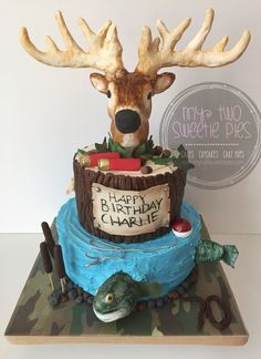 Hunting/fishing birthday cake!! 3D Deer head and fish
