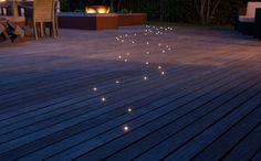 terrasse en composite avec éclairage extérieur décoratif - fibre optique effet ciel étoilé