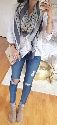 #outfits #fall #fashion Printed Scarf // White Top // Ripped Skinny Jeans // Suede Booties // Shoulder Bag