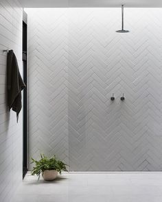 Beautiful tile work - home decorations Beautiful tile . - Beautiful tile work – home decorations Nice tile work # tile work - Minimalist Bathroom Design, Bathroom Interior Design, Interior Design Simple, Bathroom Lighting Design, Shower Lighting, Modern Design, Bad Inspiration, Bathroom Inspiration, White Herringbone Tile