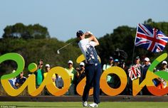 Justin Rose tees off on the 16th hole as the British supporters get behind his quest for gold at the Olympics in Rio.