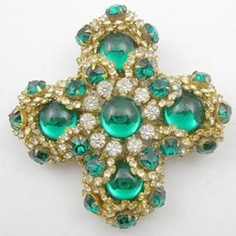 Miriam Haskell Maltese Cross Brooch - Garden Party Collection Vintage Jewelry