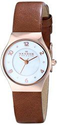 Skagen Women's SKW2210 Grenen Rose Gold-Tone Watch with Brown Leather Band