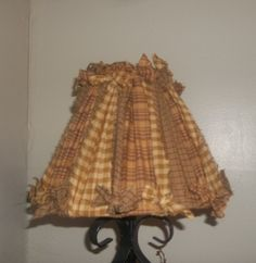 Country lamp shade  made with homespun fabric