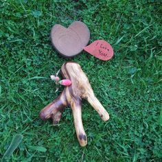 LOVE creature & heart dish on wooden base  by NaturesArtMelbourne