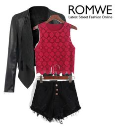 """""""romwe black and red"""" by vbstyle88 ❤ liked on Polyvore featuring moda"""
