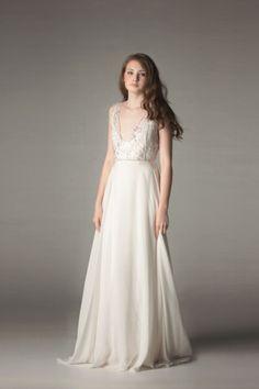 Beaded V-neck gown: http://www.stylemepretty.com/lookbook/designer/sarah-seven/ #SMPLookBook