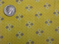 """Vintage Antique Cotton Quilt Doll Fabric Print 1920s TINY YELLOW Flowers 34"""" Wd"""