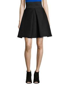 TAJSB Milly High-Waisted Pleated A-Line Bubble Skirt, Black