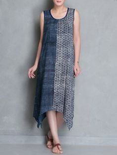 Indigo-Ecru Natural Dye Ajrakh Printed Dress with Shrug Set of Two