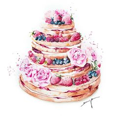 Fruity naked cake Watercolour by Enya Todd Watercolor Cake, Watercolor Art Paintings, Watercolor Illustration, Dessert Illustration, Watercolor Artists, Wedding Cake Illustrations, Floral Illustrations, Cake Drawing, Food Drawing