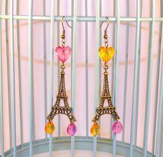 Boucles d'oreilles Tour Eiffel, Perles Coeurs, Gouttes, Orange/Rose, Pendantes Bronze // Style Romantique Chic : Boucles d'oreille par oranjine
