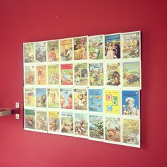 Ladybird book covers on canvas. Needed a way of displaying our postcard collection so we stuck them onto a home bargains canvas. Tres squinty.