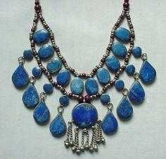STUNNING Vintage Statement Piece Alpaca Silver Multi Stone Lapis Lazuli Necklace #Unbranded
