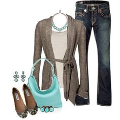 Brown & Aqua Blue outfit
