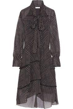 Chloé|Tiered printed chiffon dress|NET-A-PORTER.COM